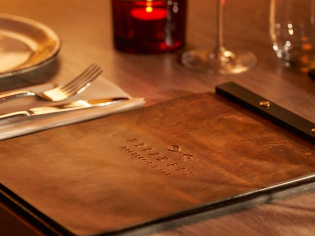 Close up of leather menu